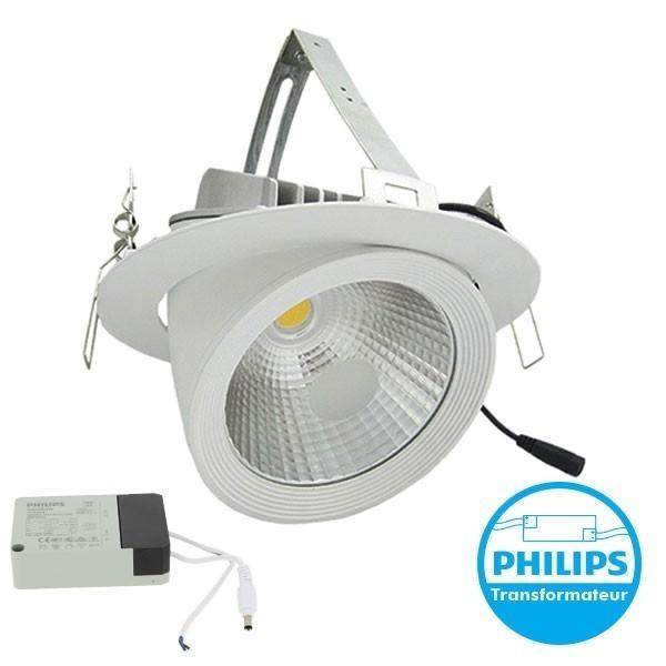 Spot Escargot Pro orientable COB 35W avec transformateur Philips