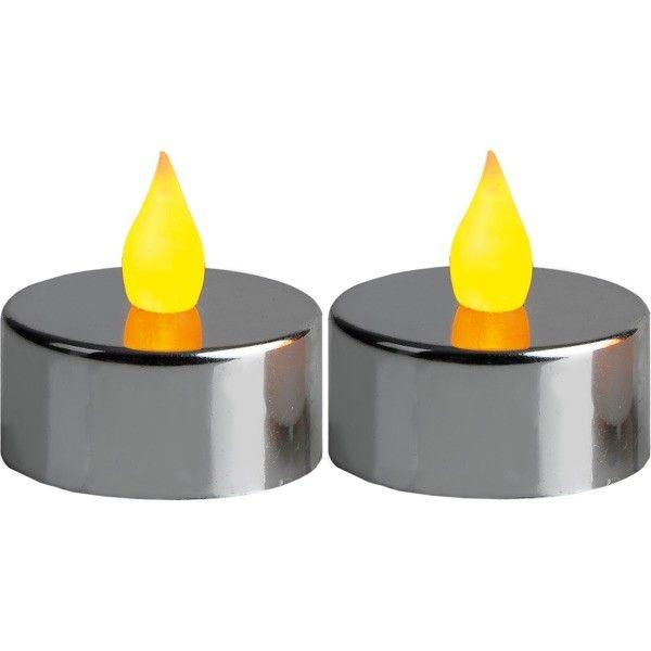 2 bougies LED chromée
