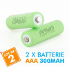 2 batteries piles solaire rechargeables LR3 AAA - Ni-MH 300 mAh
