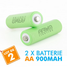 2 batteries piles solaire rechargeables LR6 AA - Ni-MH 900 mAh