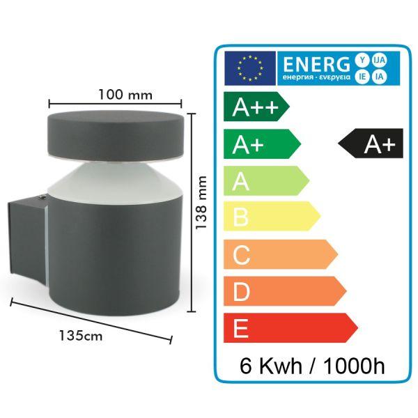 Applique Exterieur LED 6W Montante OSLO 600Lm