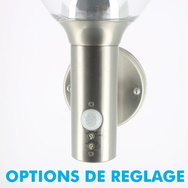 Applique inox LED BASTIDE à détection 450 Lumens