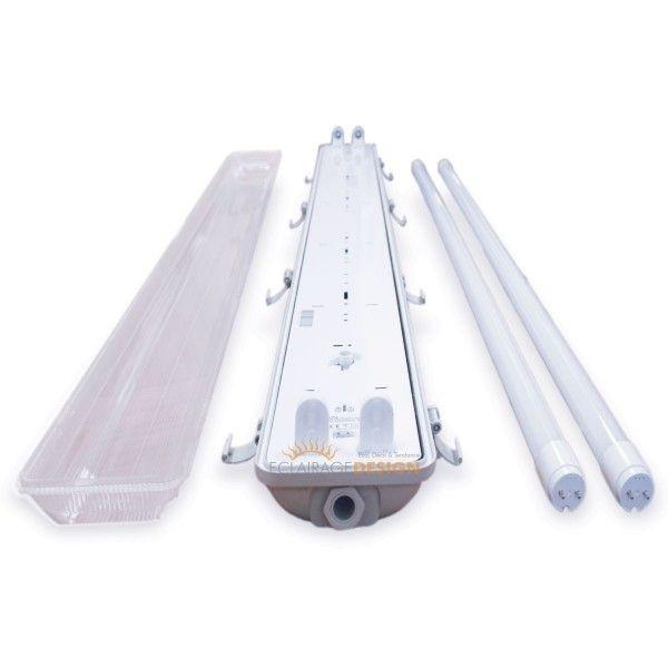 Kit 2 tubes LED 150cm 6400K + boitier étanche