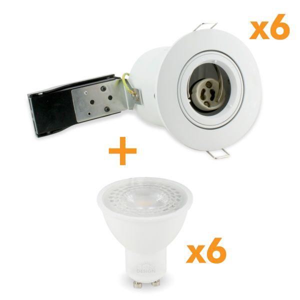 Lot de 6 Spots orientables blanc BBC Avec spot LED GU10 350 Lm