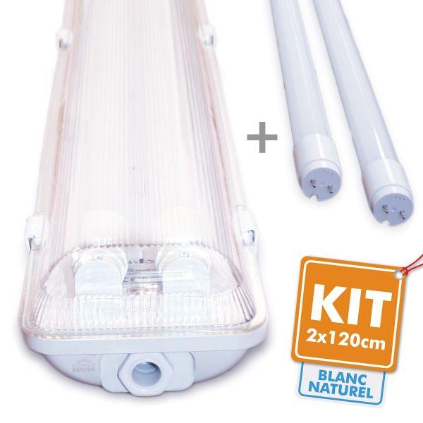kit de 2 tubos led 120cm