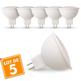 Lot de 5 Ampoules LED GU5.3 MR16 5W Eq 40W