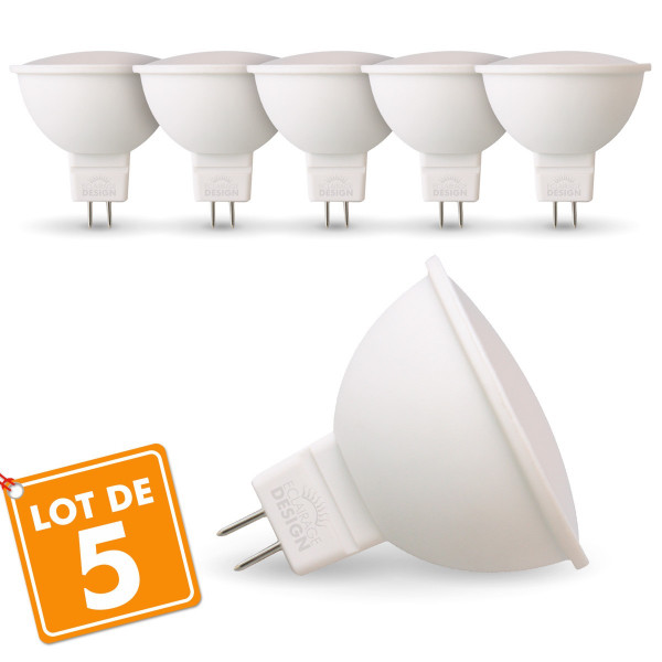 Lot de 5 Ampoules LED GU5.3 MR16 5W Eq 40W