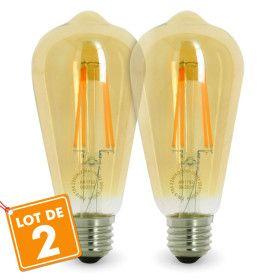 Lot de 2 AMPOULEs E27 7W ST64 2200K Type Edison