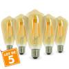 Lot de 5 AMPOULES E27 7W ST64 2200K Type Edison