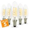 Lot de 5 Ampoules Flamme Filament 4w eq. 40W Culot E14