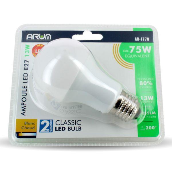 LOT de 2 AMPOULES LED E27 13W DIMMABLE Eq 75W Eclairage Design