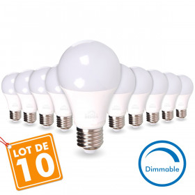 LOT de 10 AMPOULES LED E27 13W DIMMABLE Eq 75W