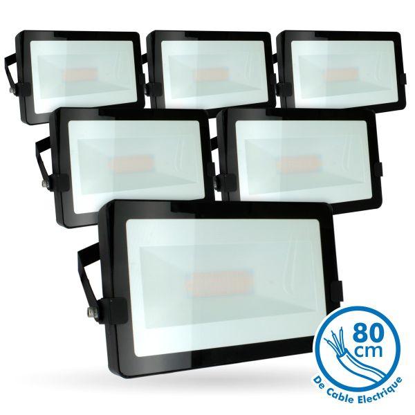 Lot de 5 Projecteurs LED 50W Noir Extérieur IP65