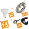 Lot de 15 Spot LED encastrable complet orientable Acier brossé avec Ampoule GU10 230V 5W