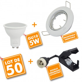 50 x Spot encastrable orientable complet LED 5W eq 40W