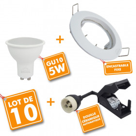 Lot de 10 Spot encastrable fixe complet blanc avec GU10 LED de 5W eq 40W