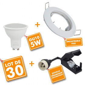 Lot de 30 Spot encastrable fixe complet blanc avec GU10 LED de 5W eq 40W