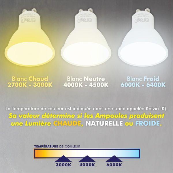 Lot de 50 Spot encastrable fixe complet blanc avec GU10 LED de 5W eq 40W