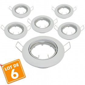 Lot de 6 supports encastrable orientable blanc D82