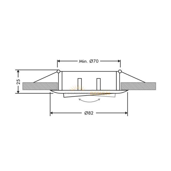 Lot de 6 supports encastrable orientable blanc D82