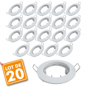 Lot de 20 supports encastrable fixe blanc D77