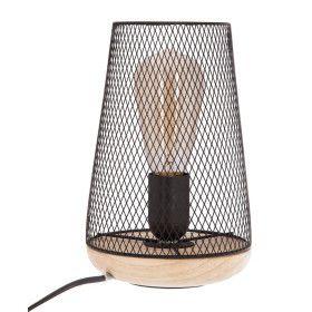 Lampe noire en métal & bois E27