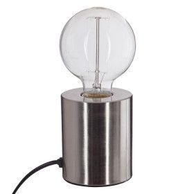 Lampe tube argent en métal E27