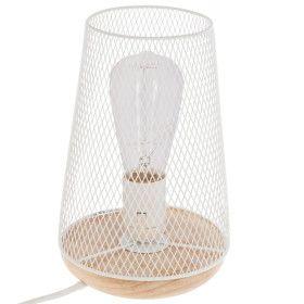 Lampe blanche en métal & bois E27 - 23 CM