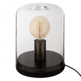 Lampe dôme en verre & bois E27 - 22 cm