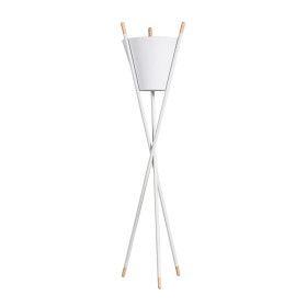 Lampadaire trépieds blanc en métal & bois - E27 - 165 cm