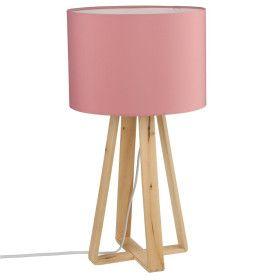 Lampe Rose pied en bois - E14 - 47 cm