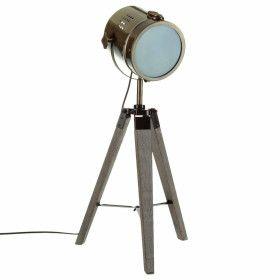 """Lampe bronze """"Ebor"""" en métal & bois - E14 - 68 cm"""