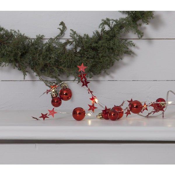 Guirlande sur piles Noel rouge