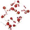 Guirlande sur piles LED blanc chaud Boule de Noel rouge