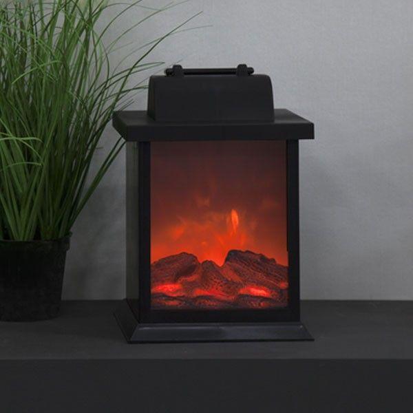 Lanterne H21cm avec effet flamme cheminée sur piles
