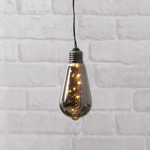 Guirlande Déco Ampoule LED sur piles verre fumée