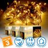 Lot de 3 Guirlandes lumineuses 8 mètres 128 LED - Blanc Chaud extérieur