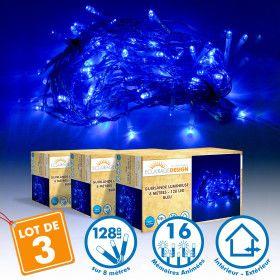 Lot de 3 Guirlandes lumineuses 8 mètres 128 LED - Bleu extérieur
