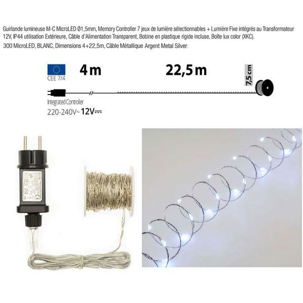 Guirlande 300 Micro LED 22M blanc chaud Interieur Exterieur