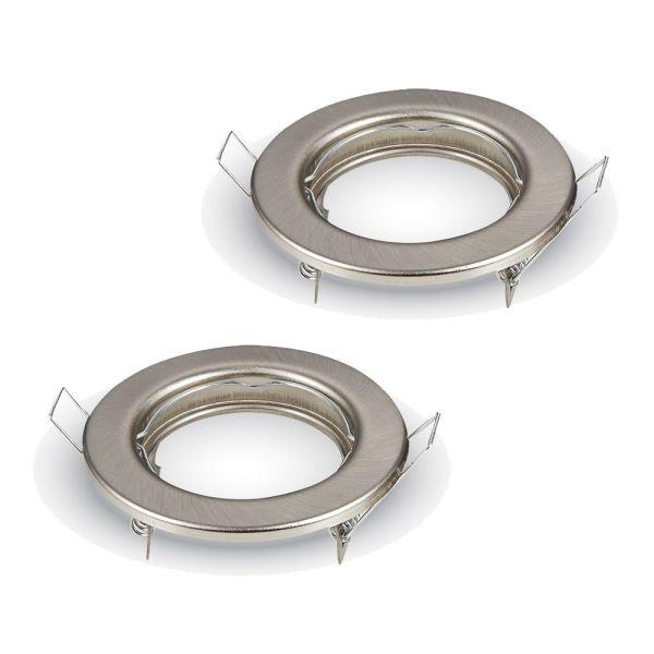2 supports fixe GU10 Rond satin nickel