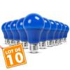 Lot de 10 Ampoules LED E27 9W Bleu
