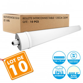 Lot de 10 Reglettes Interconnectables LED Etanche 120cm 36W IP65 4000k