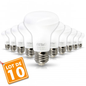 Lot de 10 Ampoules LED Spot R63 E27 9W Eq 60W