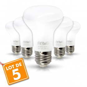 Lot de 5 Ampoules LED Spot R63 E27 9W Eq 60W
