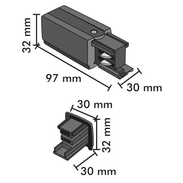 Connecteur d'alimentation et terminaison Noirs pour Rail 4 wires
