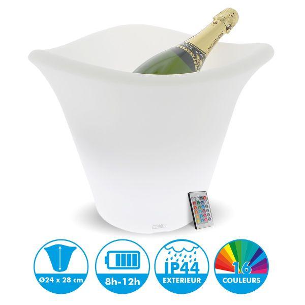 Seau à Champagne lumineux rechargeable LED 28 cm