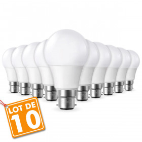 Lot de 10 Ampoules LED B22 9W eq 60W 806m