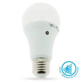 Ampoule LED VTAC E27 A60 9W Détection de Mouvement Blanc Chaud