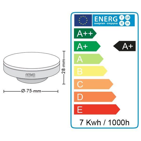 eq. 41W Ampoule led GX53 7W Blanc Chaud 480 Lumens