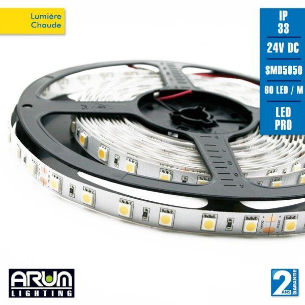 Rouleau de 5m PRO 24V 5050 60LED/M IP20  3000K